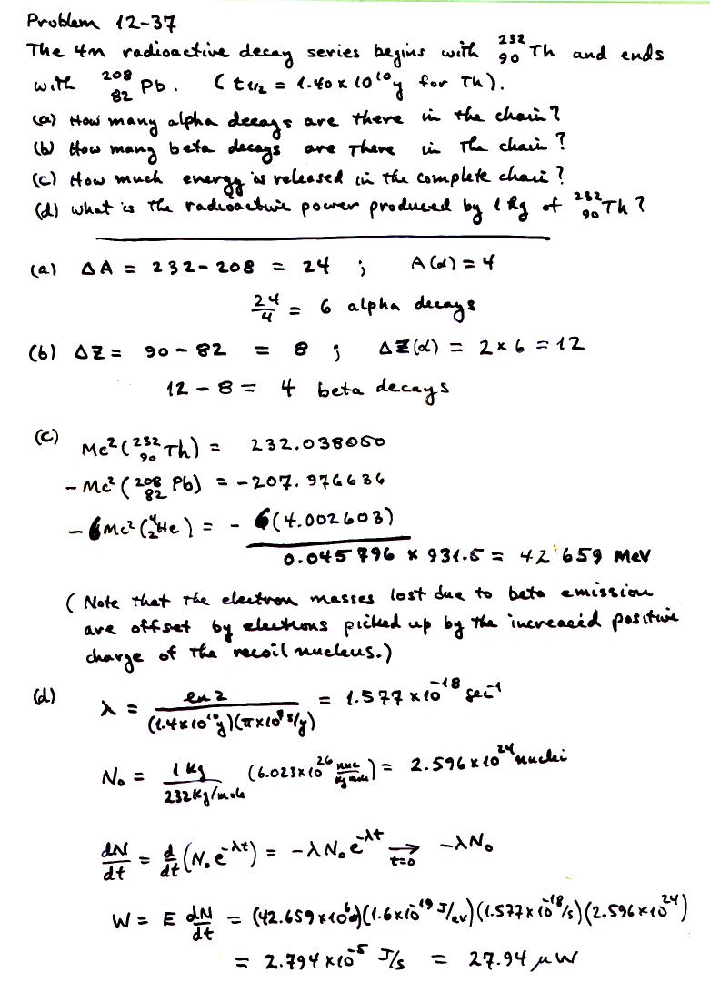 nuclear assignment in chapter 12 of krane s textbook question 9 problems 15 17 37 due date friday 14 2006